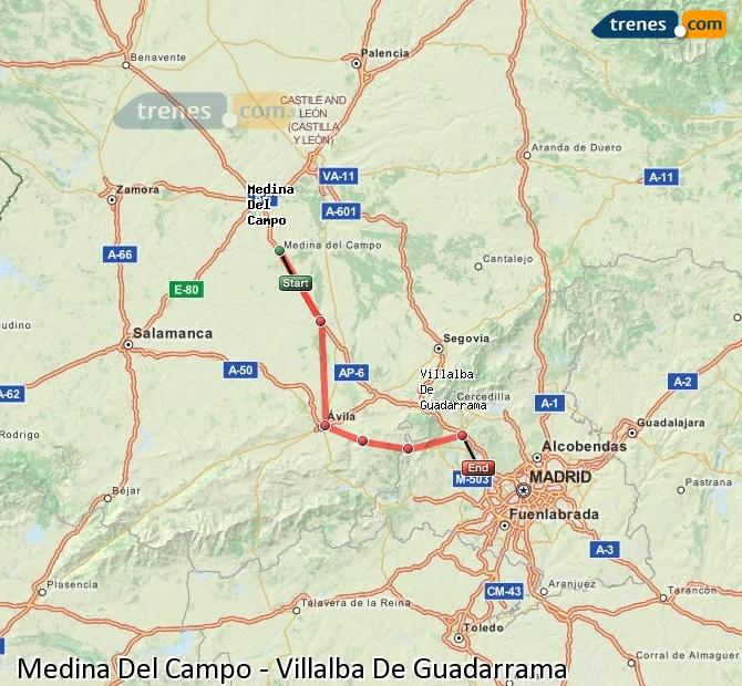 Enlarge map Trains Medina Del Campo to Villalba De Guadarrama