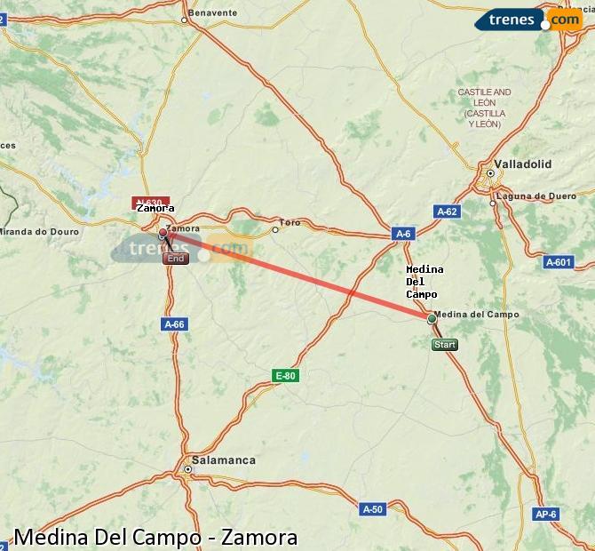 Enlarge map Trains Medina Del Campo to Zamora