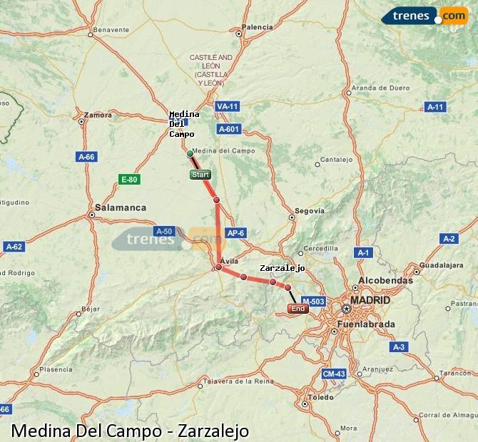 Ingrandisci la mappa Treni Medina Del Campo Zarzalejo