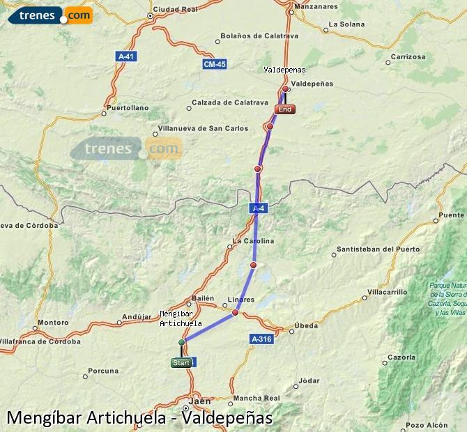 Ampliar mapa Comboios Mengíbar Artichuela Valdepeñas