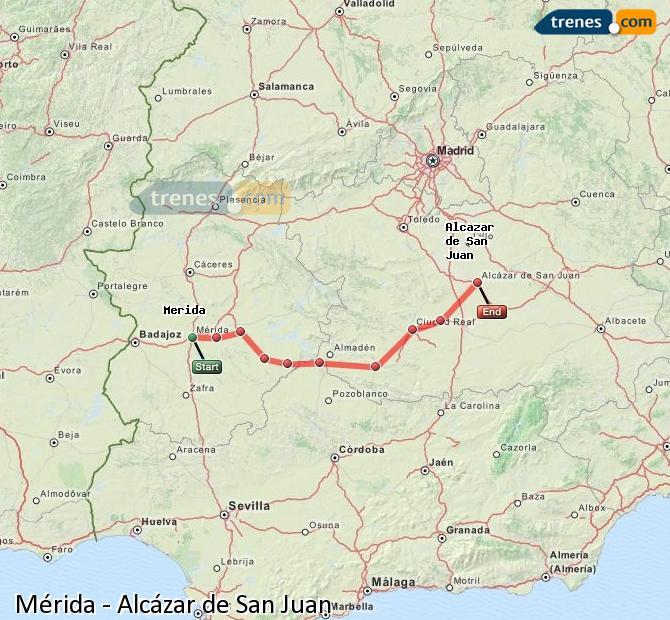 Ingrandisci la mappa Treni Mérida Alcázar de San Juan