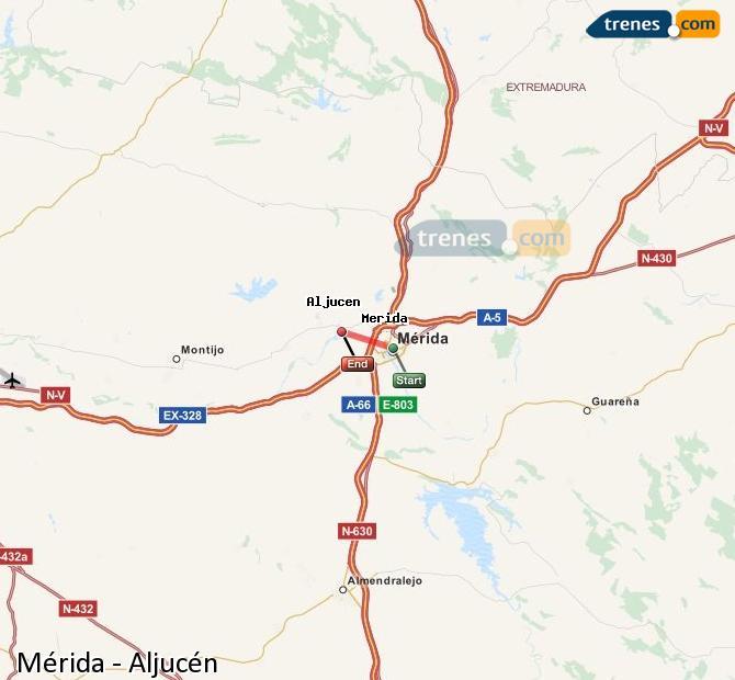 Agrandir la carte Trains Mérida Aljucén