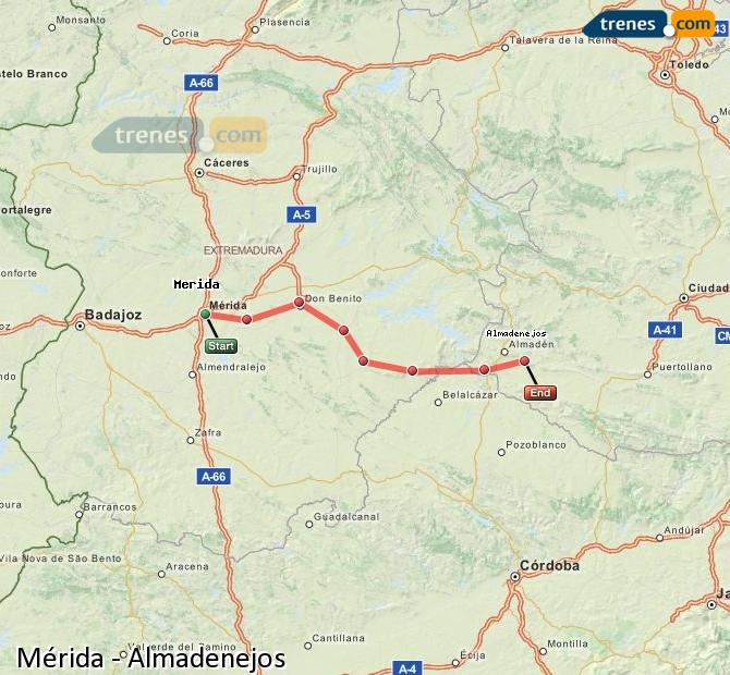 Ampliar mapa Comboios Mérida Almadenejos