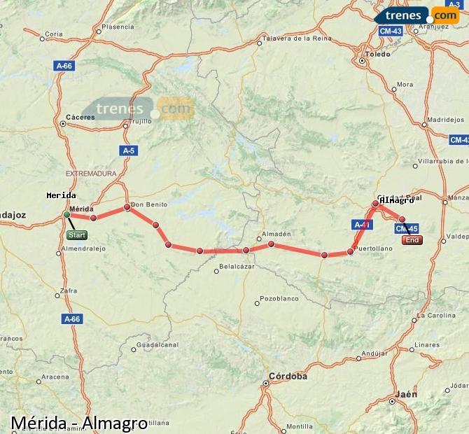 Agrandir la carte Trains Mérida Almagro
