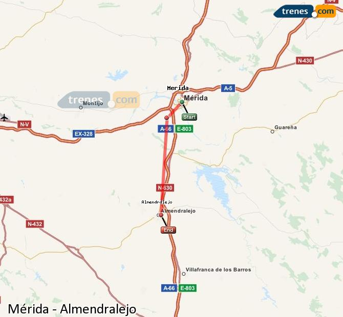 Enlarge map Trains Mérida to Almendralejo