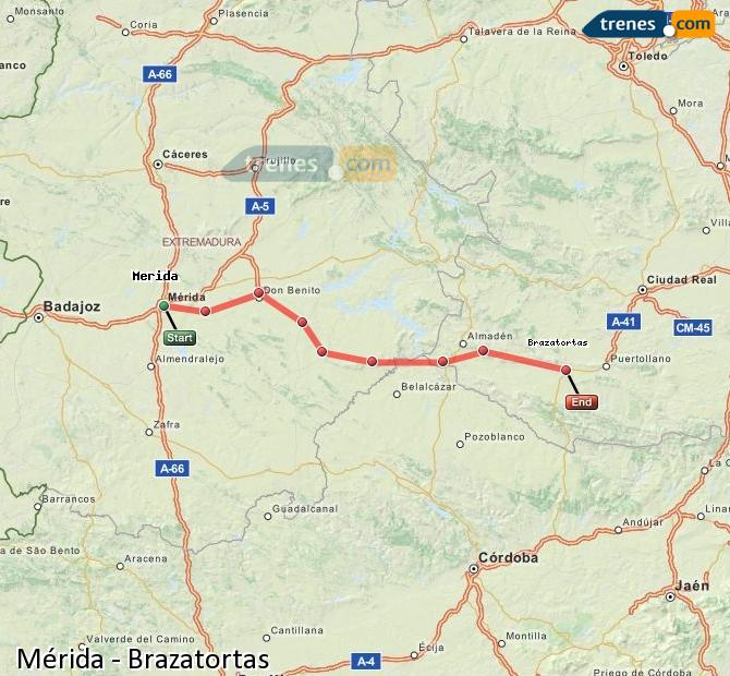 Ampliar mapa Comboios Mérida Brazatortas
