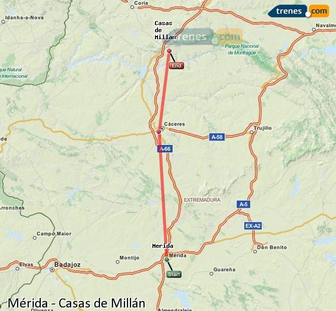 Ingrandisci la mappa Treni Mérida Casas de Millán