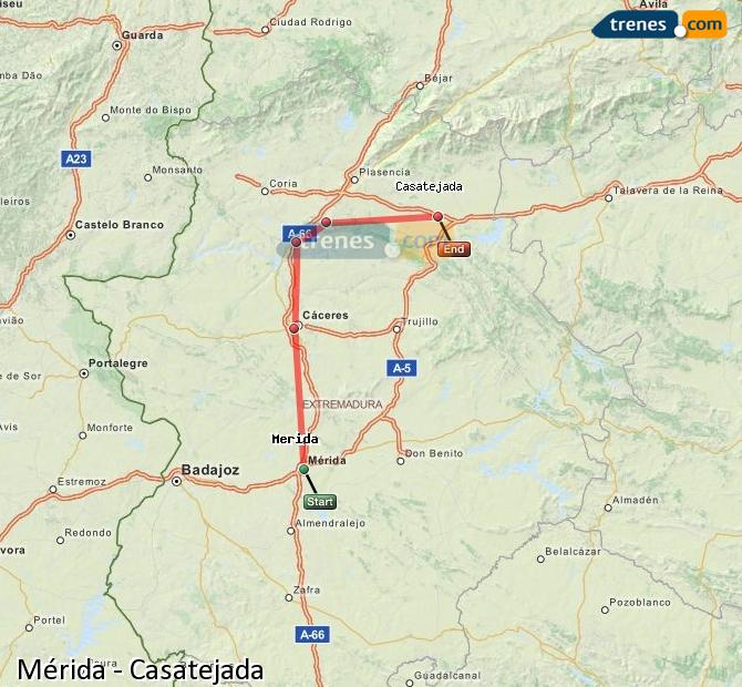 Enlarge map Trains Mérida to Casatejada