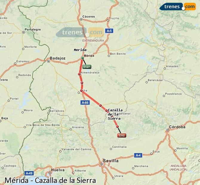 Enlarge map Trains Mérida to Cazalla de la Sierra