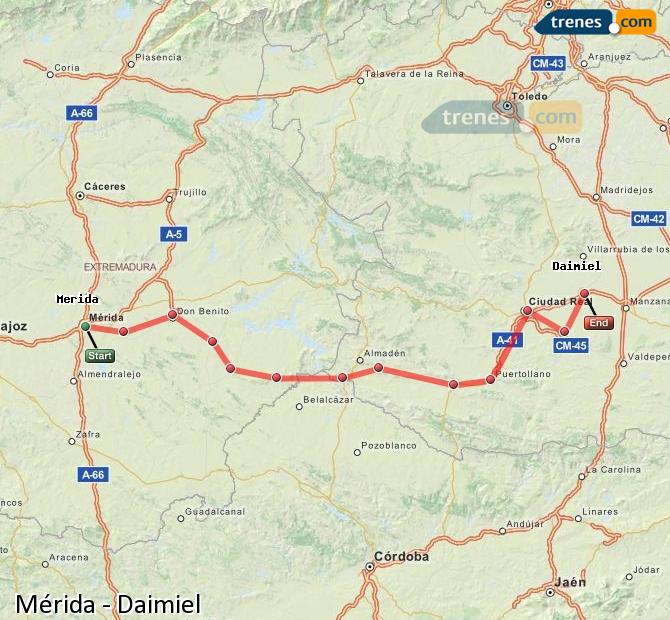 Ingrandisci la mappa Treni Mérida Daimiel