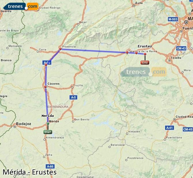 Ingrandisci la mappa Treni Mérida Erustes