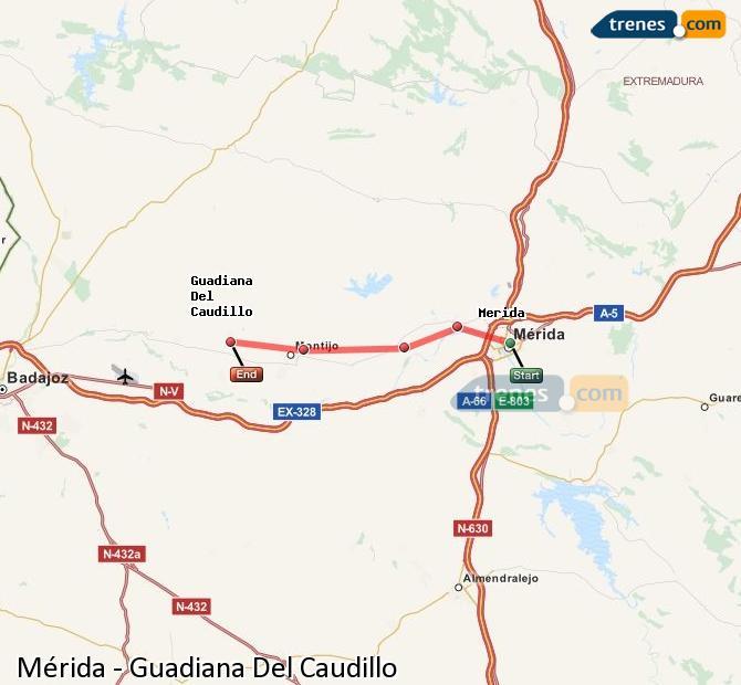 Karte vergrößern Züge Mérida Guadiana Del Caudillo