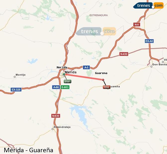 Ingrandisci la mappa Treni Mérida Guareña