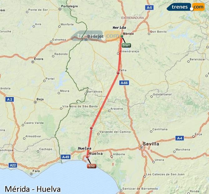 Ampliar mapa Trenes Mérida Huelva