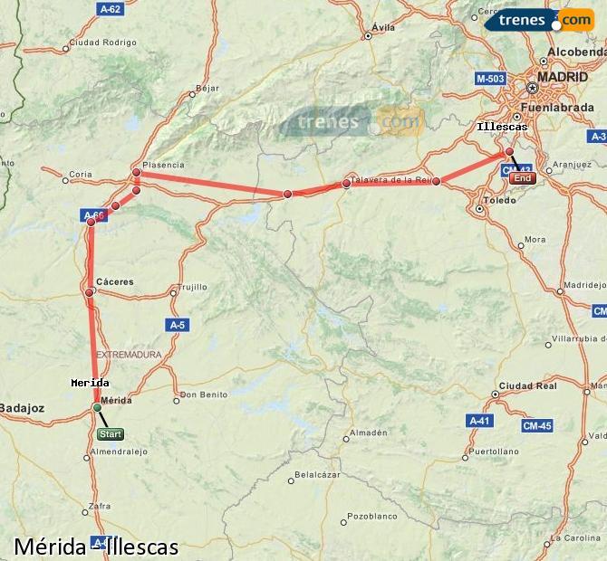Ingrandisci la mappa Treni Mérida Illescas