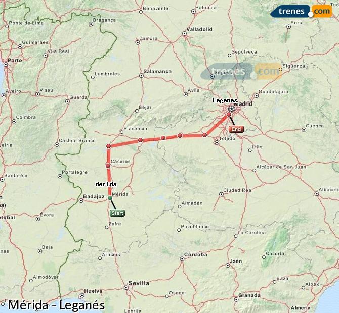 Ampliar mapa Trenes Mérida Leganés