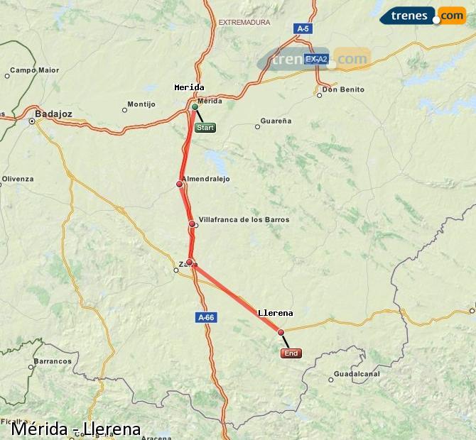 Agrandir la carte Trains Mérida Llerena