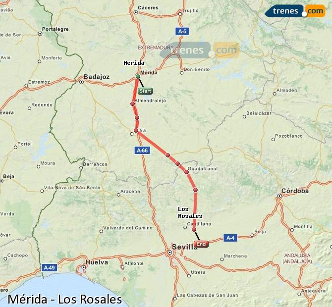 Enlarge map Trains Mérida to Los Rosales