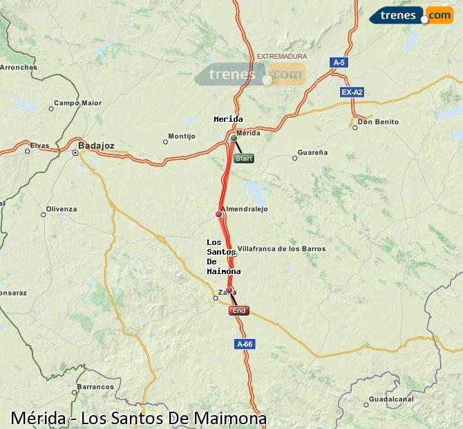 Ingrandisci la mappa Treni Mérida Los Santos De Maimona