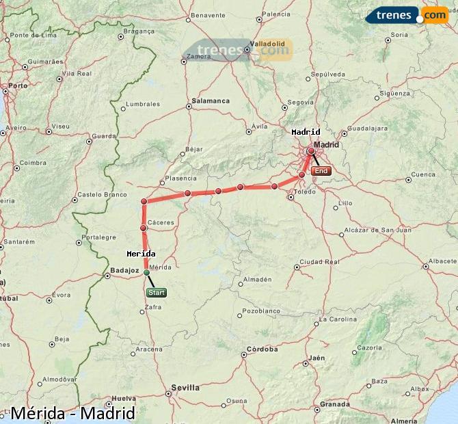 Ampliar mapa Trenes Mérida Madrid