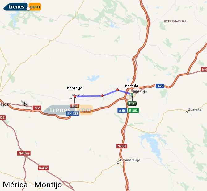 Karte vergrößern Züge Mérida Montijo