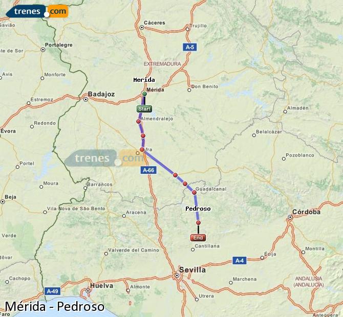 Enlarge map Trains Mérida to Pedroso