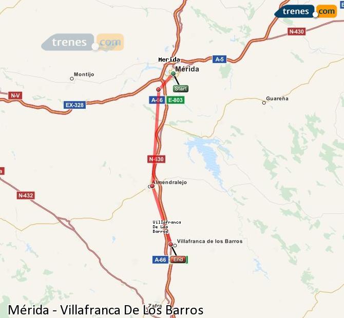 Enlarge map Trains Mérida to Villafranca De Los Barros