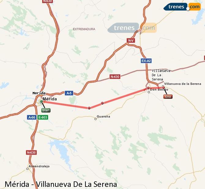 Ingrandisci la mappa Treni Mérida Villanueva De La Serena