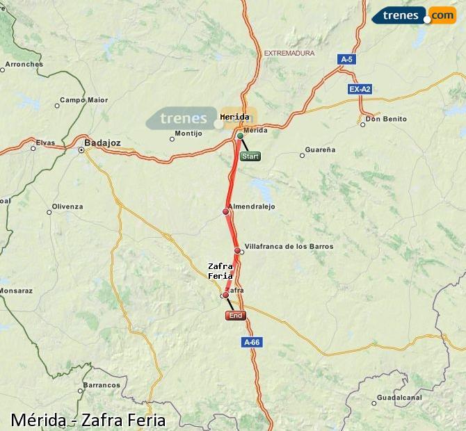 Ampliar mapa Comboios Mérida Zafra Feria
