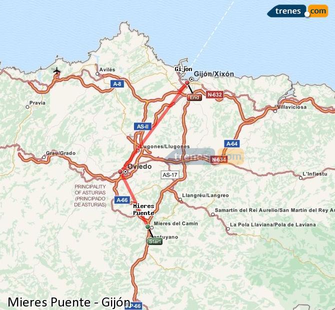 Ampliar mapa Comboios Mieres Puente Gijón