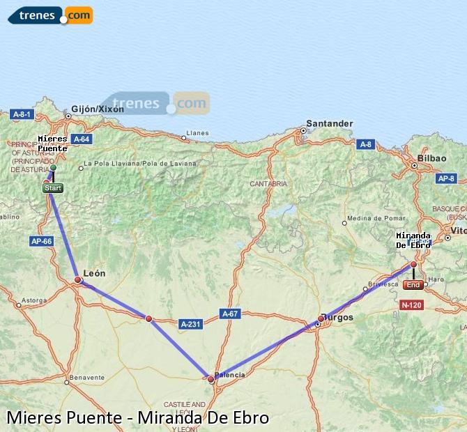 Agrandir la carte Trains Mieres Puente Miranda De Ebro
