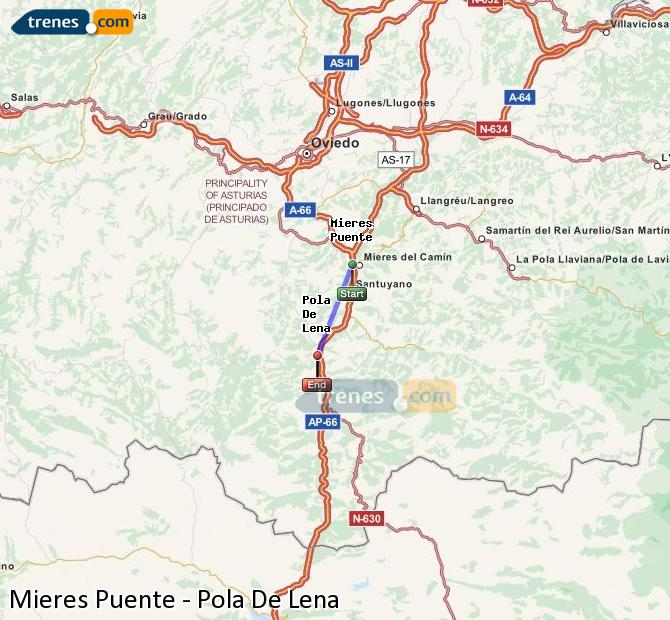 Agrandir la carte Trains Mieres Puente Pola De Lena