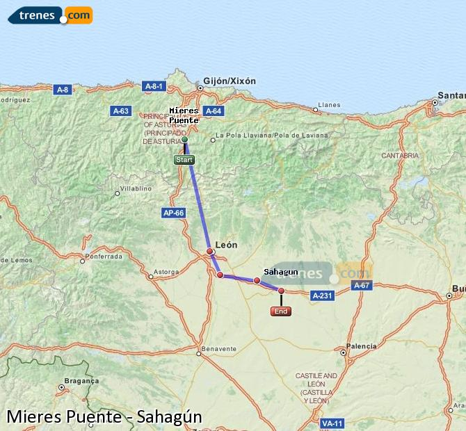 Karte vergrößern Züge Mieres Puente Sahagún