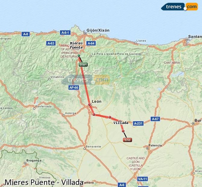 Agrandir la carte Trains Mieres Puente Villada