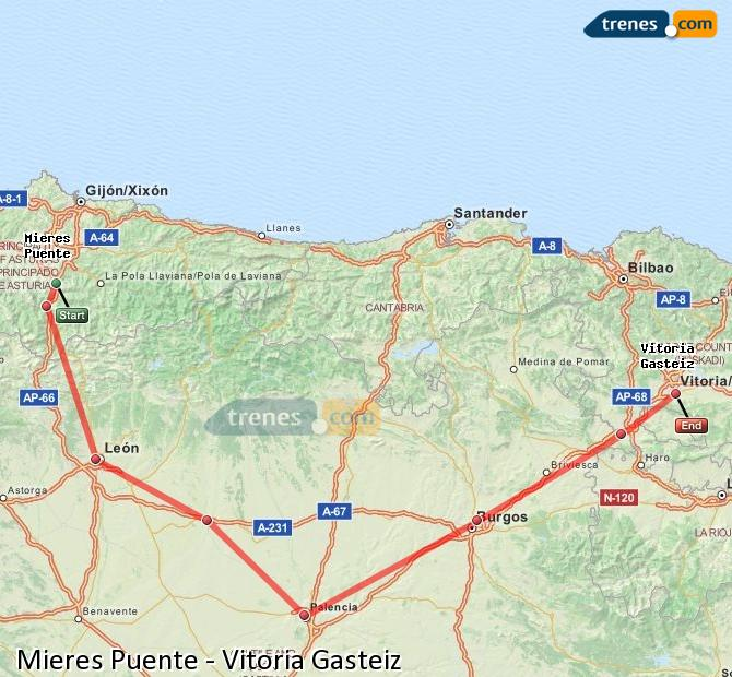Enlarge map Trains Mieres Puente to Vitoria Gasteiz