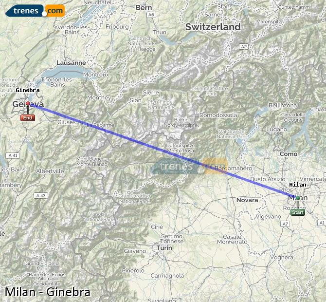 Ampliar mapa Trenes Milan Ginebra