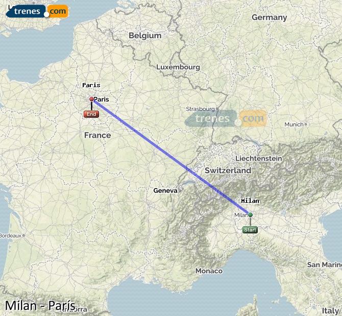 Ampliar mapa Comboios Milão Paris