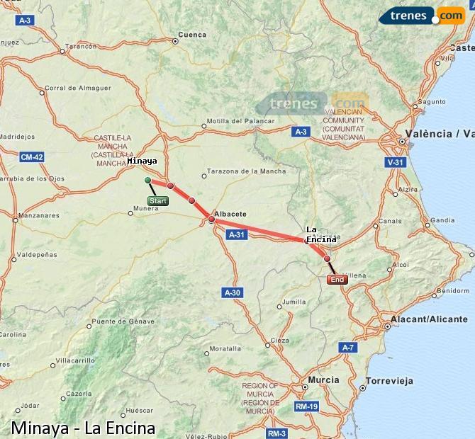 Agrandir la carte Trains Minaya La Encina