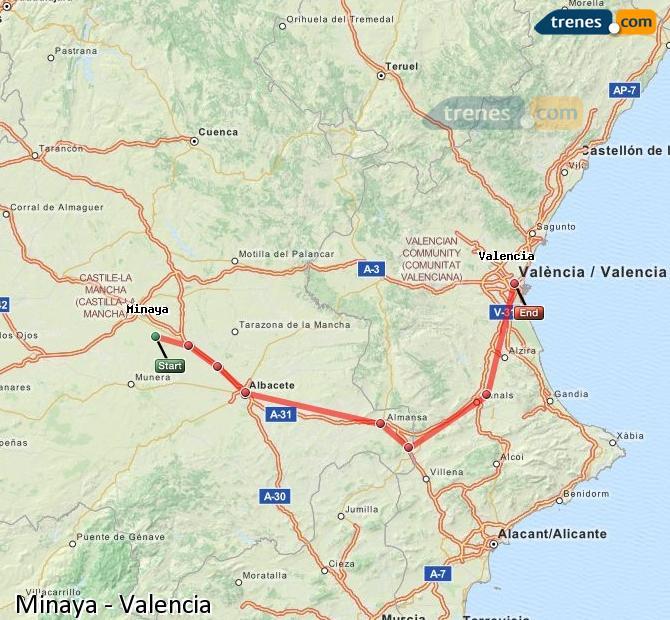 Karte vergrößern Züge Minaya Valencia