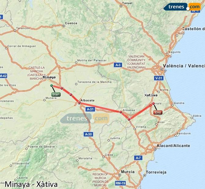 Enlarge map Trains Minaya to Xativa