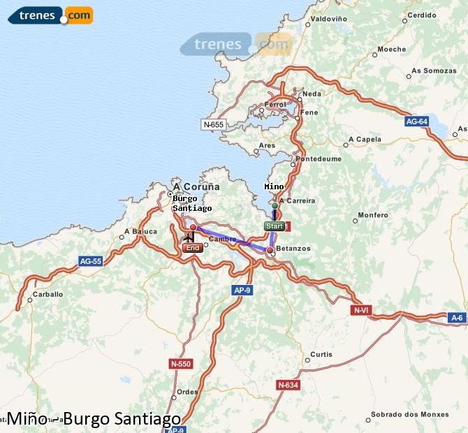 Enlarge map Trains Minho to Burgo Santiago