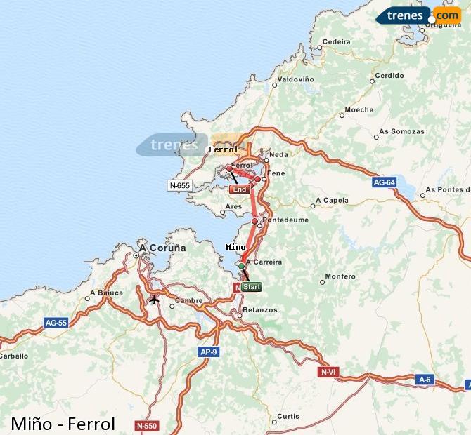 Enlarge map Trains Minho to Ferrol