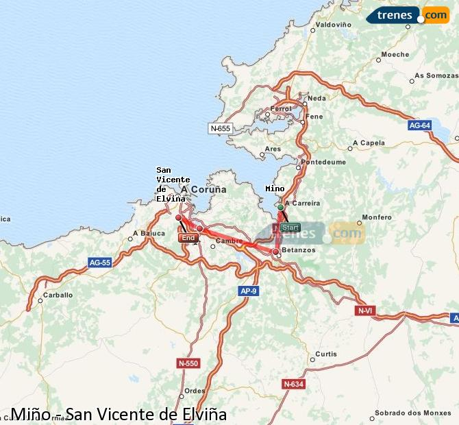 Enlarge map Trains Minho to San Vicente de Elviña