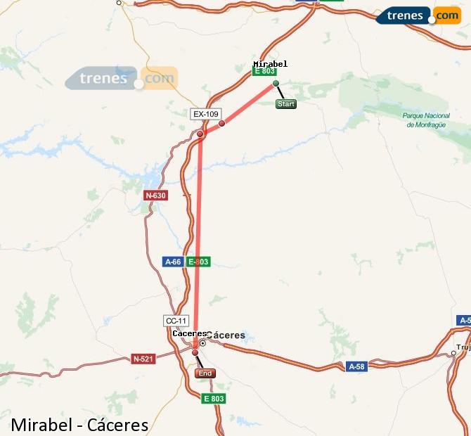 Ingrandisci la mappa Treni Mirabel Cáceres