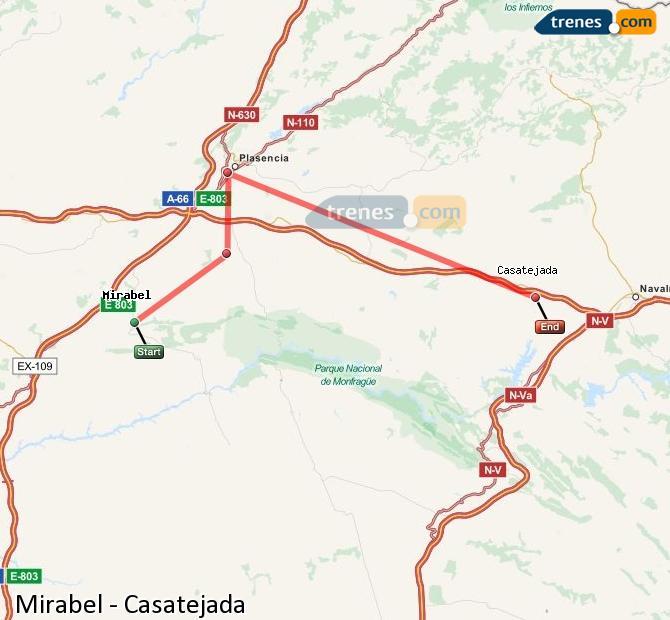 Ingrandisci la mappa Treni Mirabel Casatejada