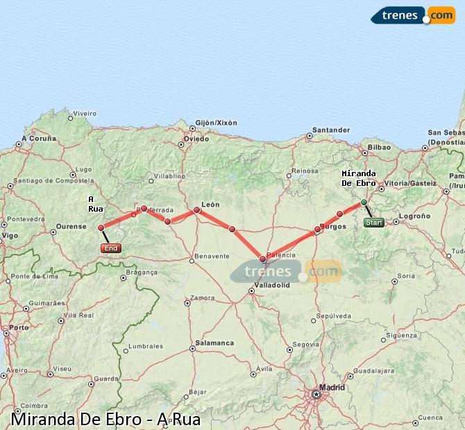 Karte vergrößern Züge Miranda De Ebro A Rua