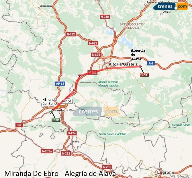 Karte vergrößern Züge Miranda De Ebro Alegría de Álava