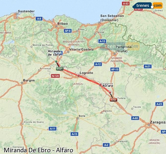 Karte vergrößern Züge Miranda De Ebro Alfaro