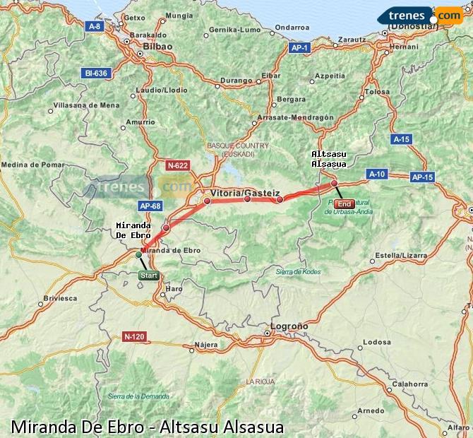 Karte vergrößern Züge Miranda De Ebro Altsasu Alsasua