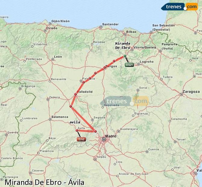 Karte vergrößern Züge Miranda De Ebro Ávila